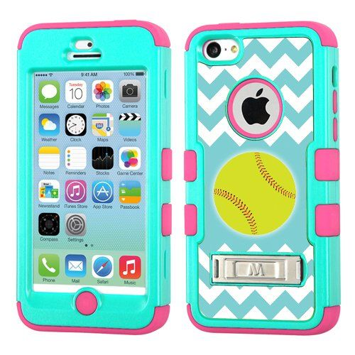 One Tough Shield ® Hybrid 3-Layer Case with Kick-Stand (Teal/Electric Pink) for Apple iPhone 5C - (Chevron/Teal/Softball)