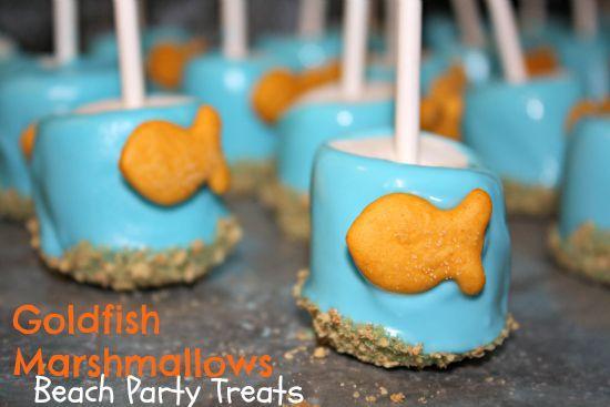 DIY Goldfish Marshmallow Pops - Under the Sea Birthday Party Snack, Beach Birthday Party, Party Snacks, Toddler Snacks
