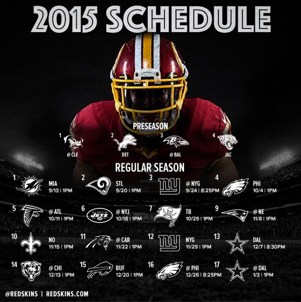 Washington Redskins' 2015 Schedule!