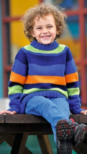 Stribet raglansweater | Familie Journal