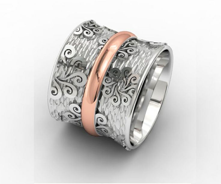 925 Sterling Silver Ring Pink 18k. Gold #bohemme #jewelry #ring #style #fashion