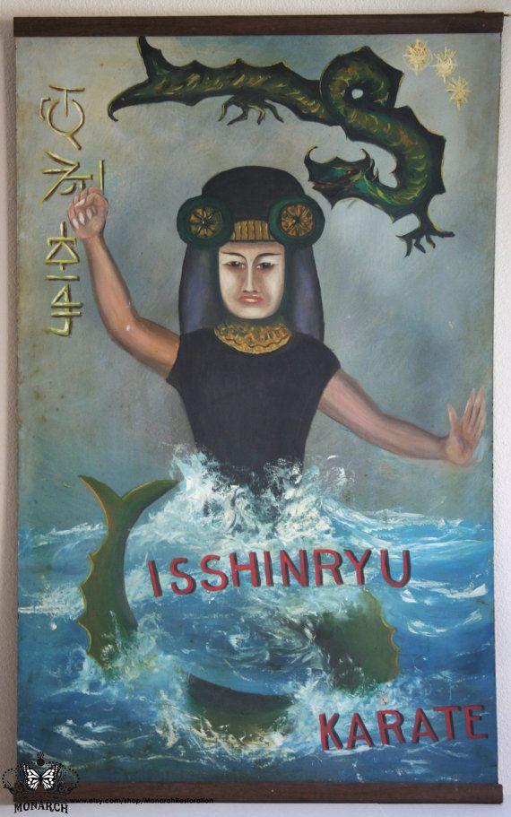 Huge Vintage Japanese Dojo Hand-painted Banner Sign Isshinryu Karate with Megami Goddess