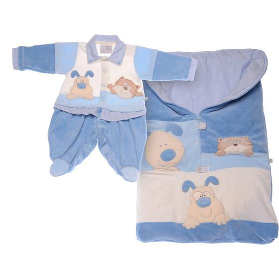 Saída Maternidade Bebê Cachorro e Gato Azul Beth Bebê