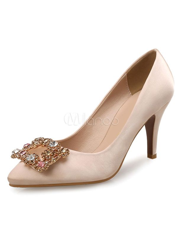 d9572041d467e Apricot Mother Of The Bride Shoes High Heels Satin Pointed Toe Rhinestone  Beaded Slip On Pumps - Milanoo.com