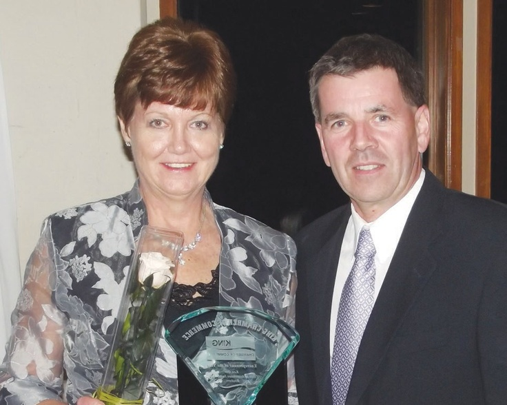This year's recipient of the Entrepreneur of the Year Award was Orr and Associate Insurance Brokers. Ken Orr was not in attendance, but the award was presented by sponsor Mike Foley, of Foley Restoration, to Linda Keeble.   Photo by Mark Pavilons
