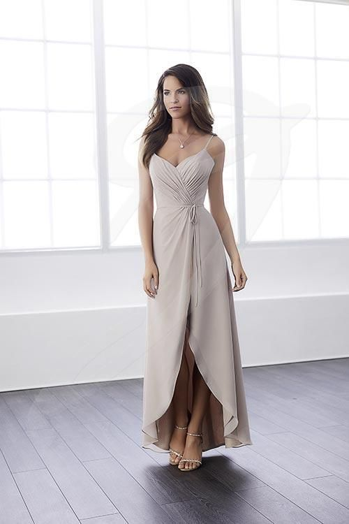 Balletts Bridal - 25556 - Bridesmaids by Jacquelin Bridals Canada - A fanciful dress with a ruched bodice tucked into its empire waistline. The high-low skirt is formed by flowing chiffon on chiffon poured from the gathering at the empire waistline.
