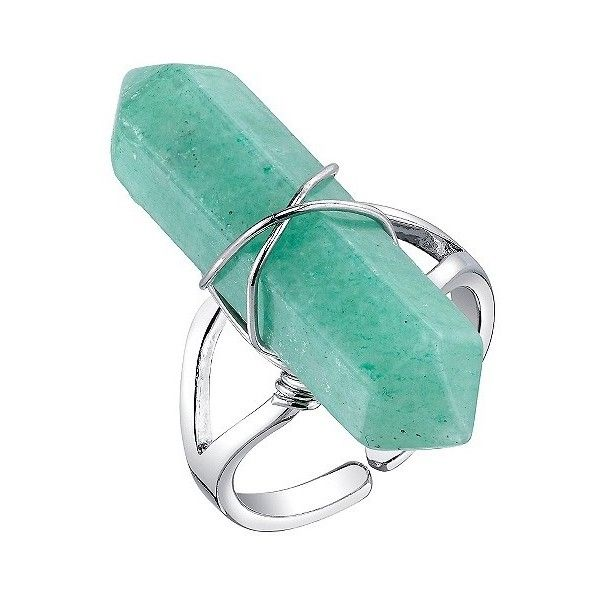 Women's Silver Plated Green Aventurine Stone Expandable Ring ($13) ❤ liked on Polyvore featuring jewelry, rings, silver, silver plated jewelry, stone jewellery, silver plating jewelry, stone jewelry and green aventurine jewelry