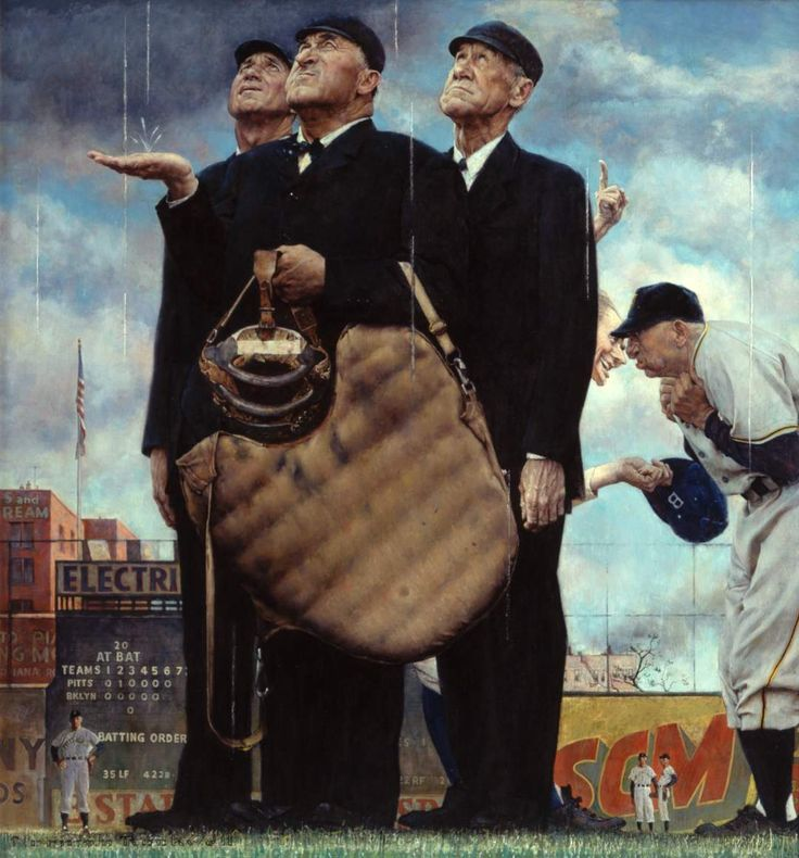 Norman Rockwell (1894-1978), Tough Call, oil on canvas, illustration for The Saturday Evening Post, 1949.