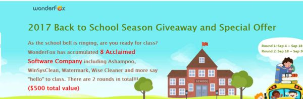 Hello everyone today I want to tell you something about the WonderFox Back to School Giveaway.  As the school bell is ringing are you ready for class? WonderFox has accumulated 8 Acclaimed Software Company including Ashampoo WinSysClean Watermark Wise Cleaner and more say hello to class. There are 2 rounds in total!! ($500 total value) Please click the link: http://ift.tt/2wOi4Vi to know more about it.  WonderFox Back to School Giveaway & Special Offer  When you post the giveaway to the…