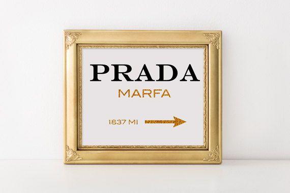 Prada marfa print Prada logo Marfa poster Prada marfa sign Prada gold canvas Prada marfa insprired print Fashion art print Prada Marfa decor by RapidPrint on Etsy