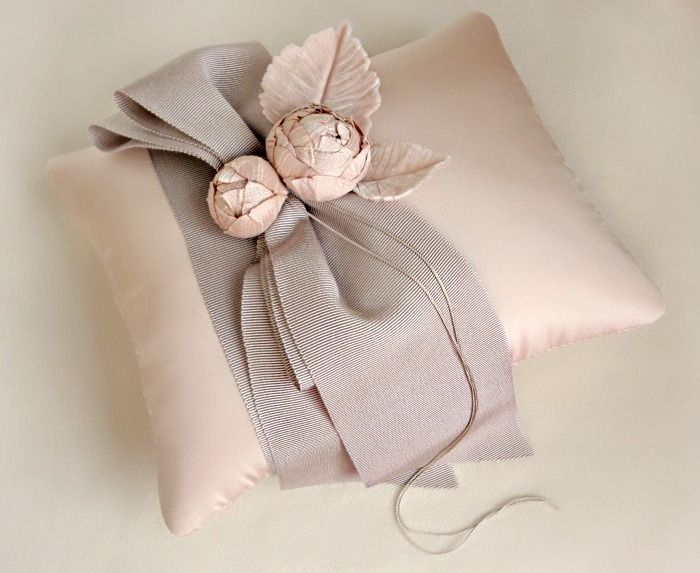 Tailored Garden Ring Pillow in Pink and Taupe / Emici Bridal