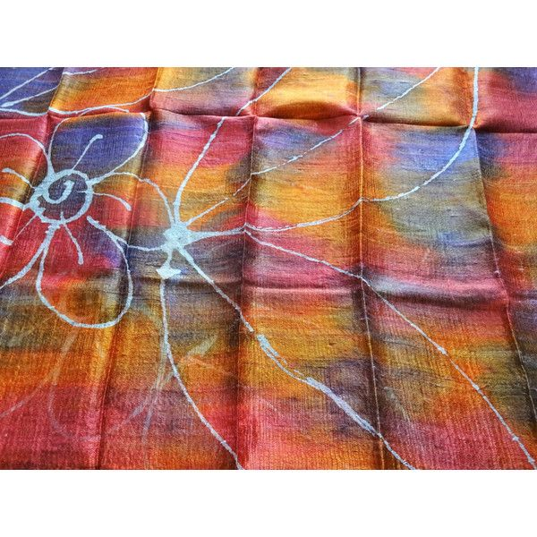Orange Silk Shawl Hand Dyed Handwoven Batik Handmade Wedding Gift Wedding Accessories Light Weight Silk Shawl Natural Pure Raw Silk For Her (€25) found on Polyvore featuring women's fashion, accessories, scarves, orange shawl, silk scarves, lightweight shawl, lightweight scarves and orange silk scarves