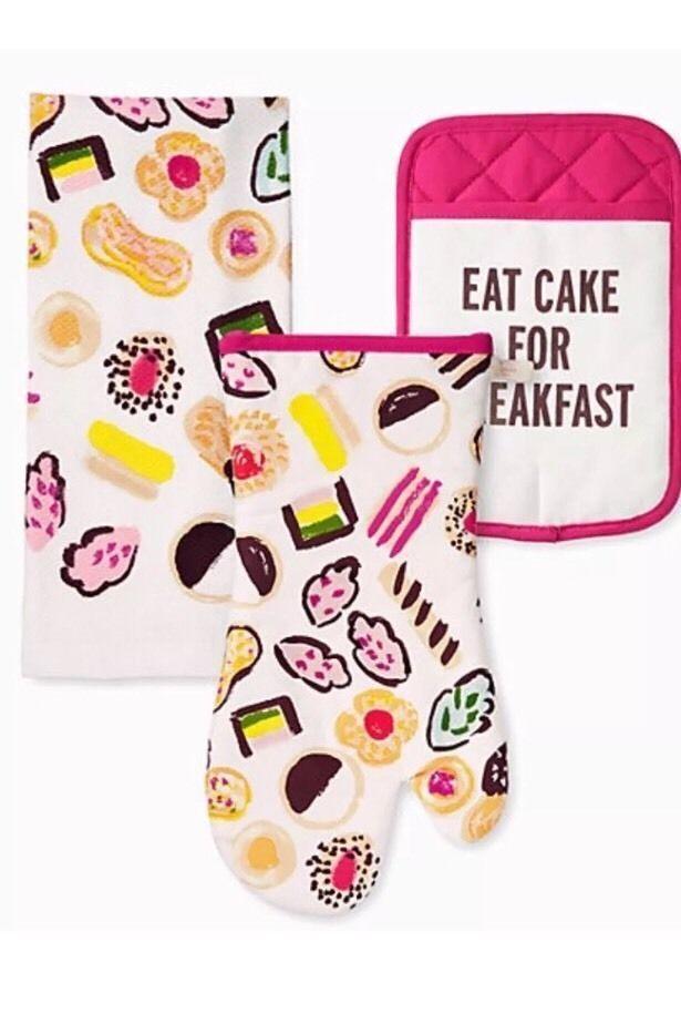 Kate Spade Eat Cake for Breakfast 3 Piece Kitchen Towel Oven Mitt Pot Holder NWT #KateSpade