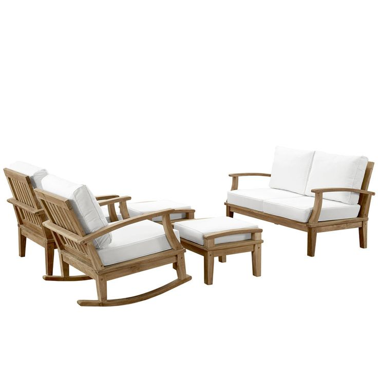 Marina 5 Piece Outdoor Patio Teak Sofa Set With Table