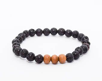 Lava Stone Bracelet. Sandalwood Bracelet. Men's Minimalist Bracelet. Boho Jewelry. Grounding Bracelet. Yoga Bracelet.