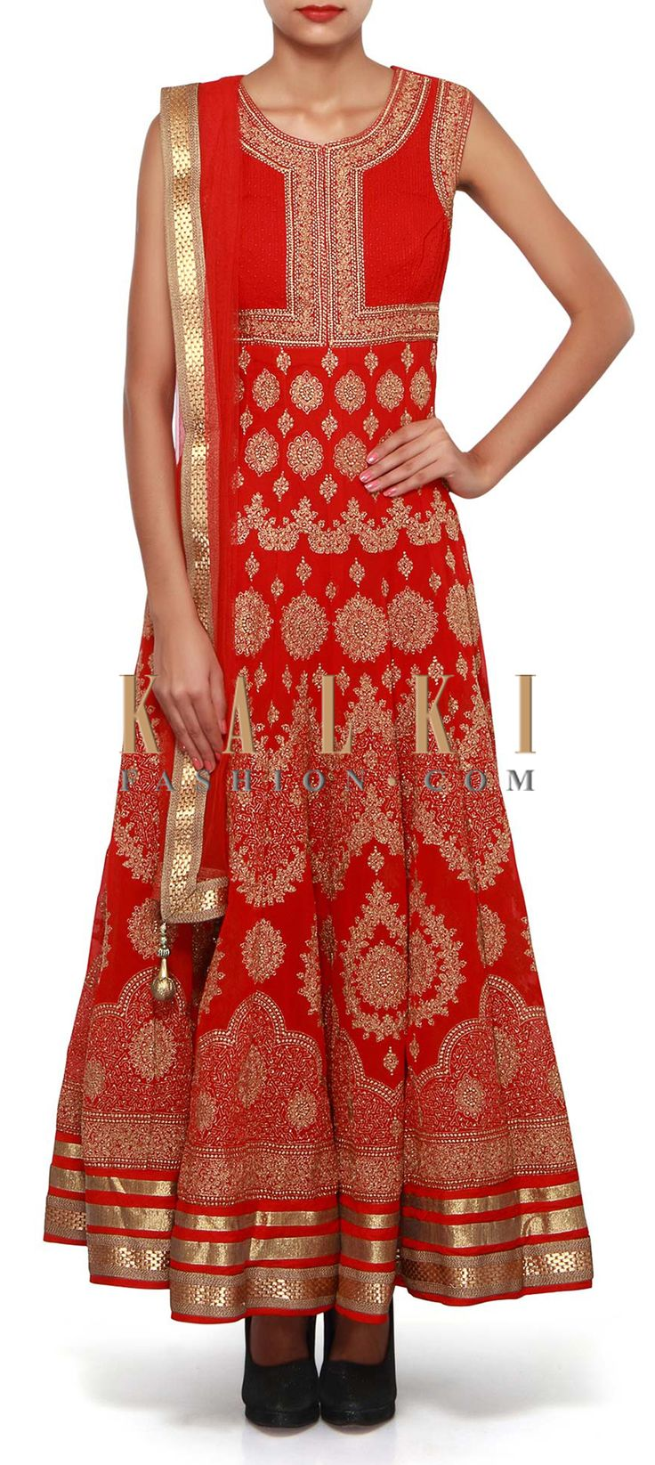 Buy Online from the link below. We ship worldwide (Free Shipping over US$100). Product SKU - 307537.Product Link - http://www.kalkifashion.com/red-anarkali-suit-adorn-in-zari-embroidery-only-on-kalki-18694.html