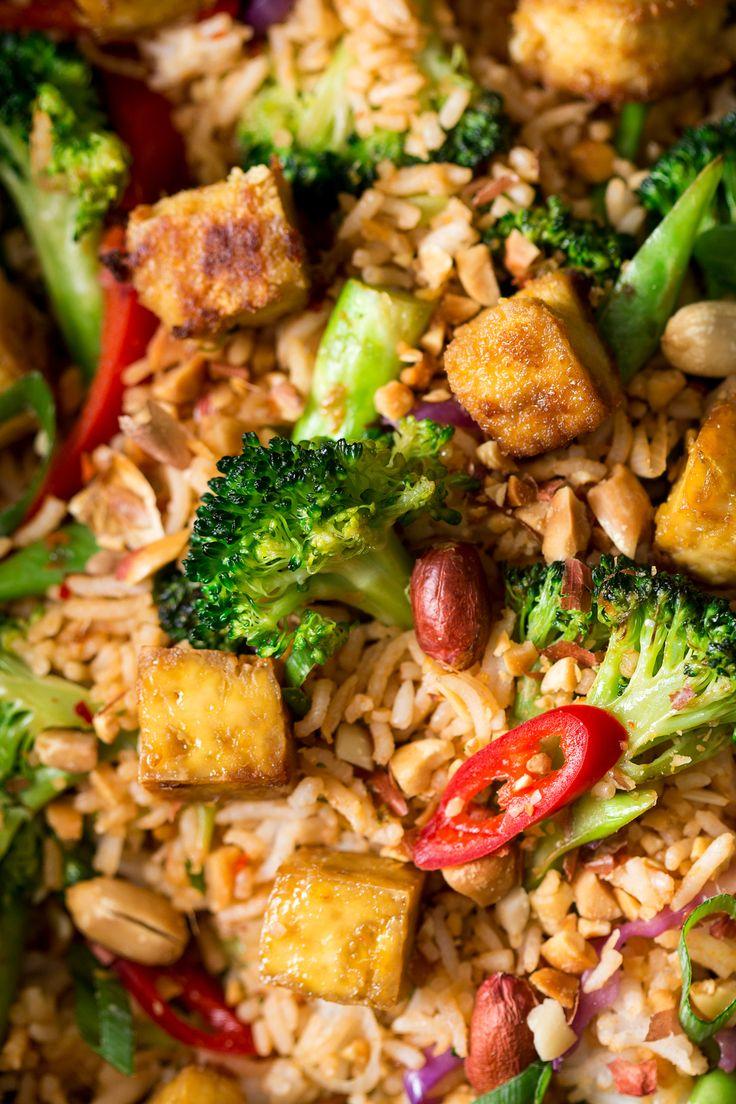 vegan nasi goreng close up
