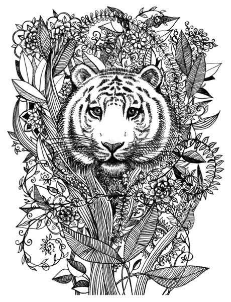 Oerwoud Kleurplaat Tiger Tangle In Black And White Black And White Prints