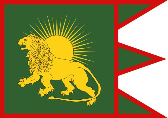 """Flag of the Mughal Empire.  Although Persian was the dominant and """"official"""" language of the empire, the language of the elite later evolved into a form known as Urdu. Highly Persianized and also influenced by Arabic and Turkic, the language was written in a type of Perso-Arabic script known as Nastaliq, and with literary conventions and specialized vocabulary being retained from Persian, Arabic and Turkic; the new dialect was eventually given its own name of Urdu."""