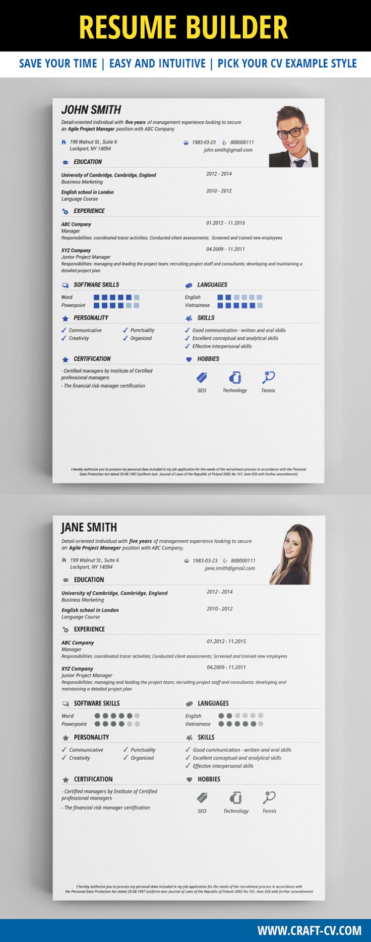 Clear & Fresh Resume Template #resume #creativecv