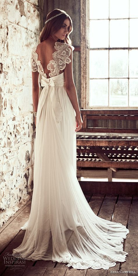 anna campbell 2018 bridal cap sleeves sweetheart neckline heavily embellished bodice romantic soft a  line wedding dress open v back sweep train (3) bv -- Anna Campbell 2018 Wedding Dresses
