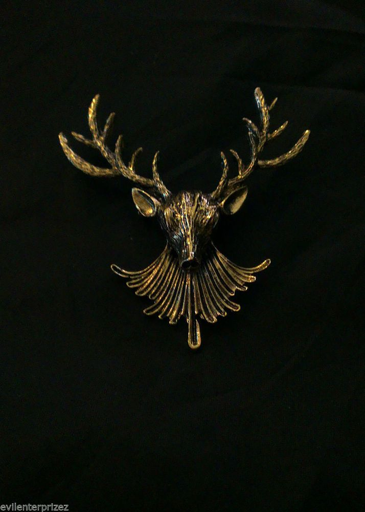 Deer/Stag Head Brooch, Antique Gold Finish Goth/Vintage/Steampunk