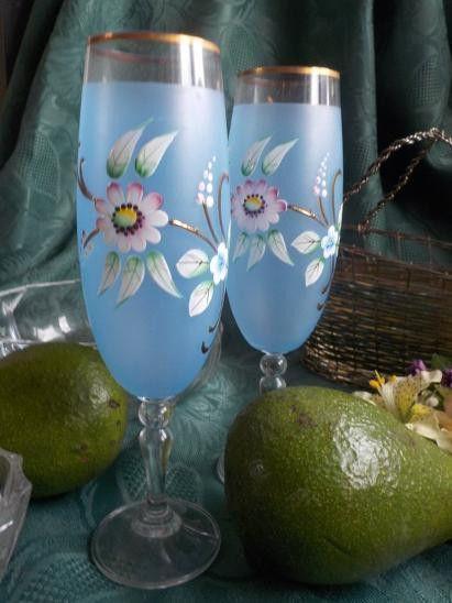 Gläser -  LUXUS PUR TRAUMHAFTE SEKT GLAESER HANDARBEIT  - ein Designerstück von ausBoehmensHainundFlur bei DaWanda