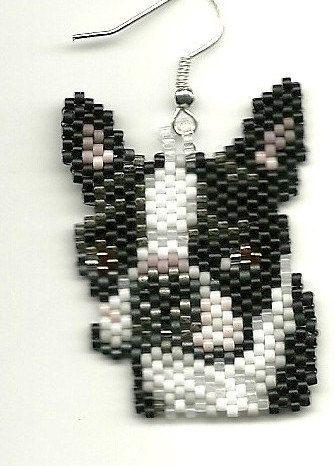 hand beaded Boston Terrier dog head dangle earrings by jjsims43