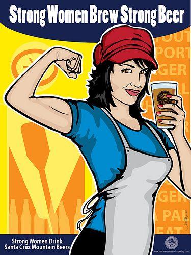 Santa Cruz Mountain Beers Advertisement with a Rosie the Riveter