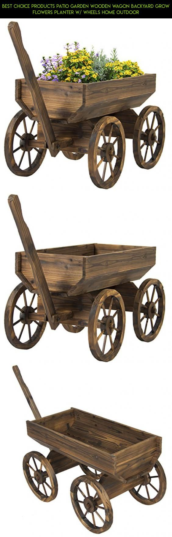 Best Choice Products Patio Garden Wooden Wagon Backyard Grow Flowers Planter w/ Wheels Home Outdoor #plans #gadgets #decor #racing #rustic #shopping #kit #parts #fpv #technology #outdoor #tech #camera #products #drone