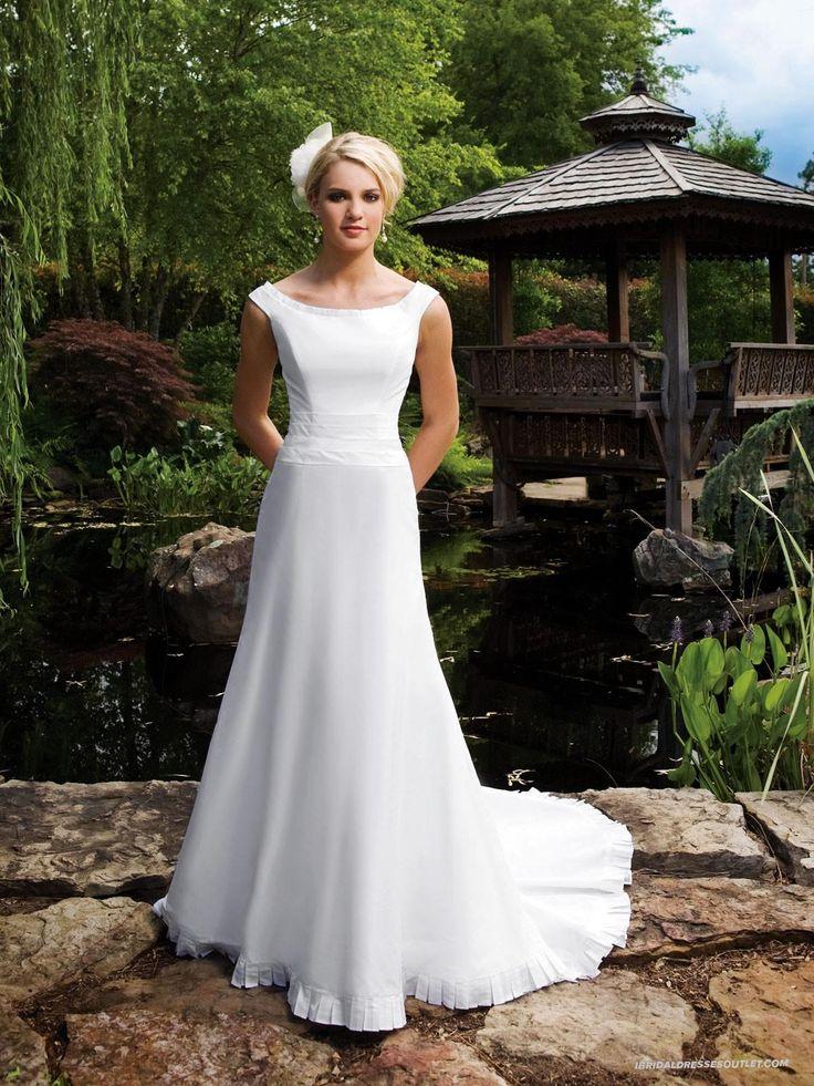Fantastic Shantung Tip-of-shoulder Neckline Intricate Pleating Bodice A-line Wedding Dress Ibd0827 Of Diverse Styles | Wedding Dresses For Older Brides