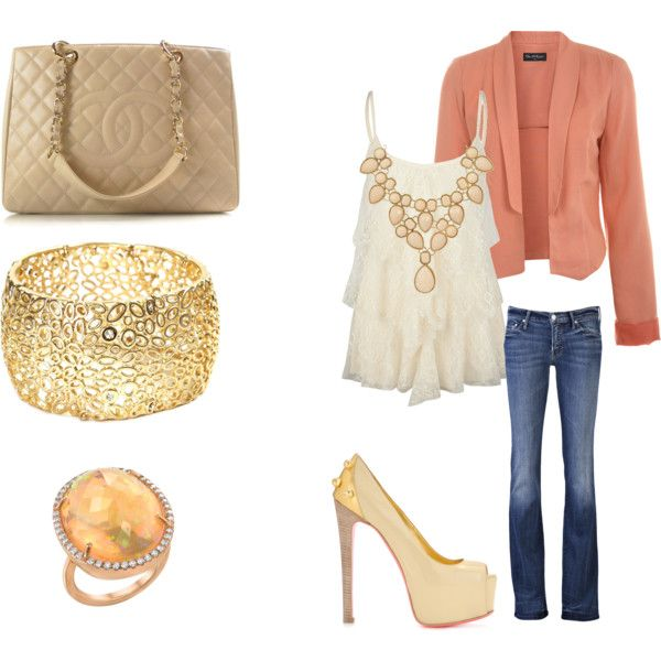 Spring Fling, created by lindsaydalefox on Polyvore: Big Rings, Outfits Accessories Etc, Theme Outfit, Color, Style Pinboard, Blazers, Classy Outfits, Life My Style