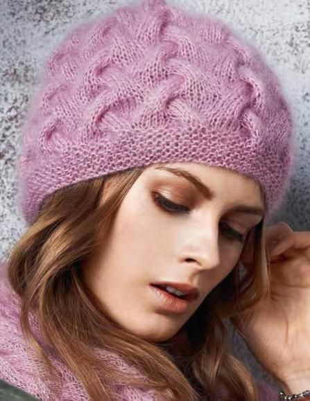 Вязание шапки узором соты knitting