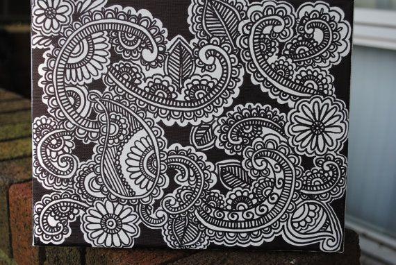 Henna Doodle Art On Canvas 10 X 8 By Khadeejaniazi On Etsy