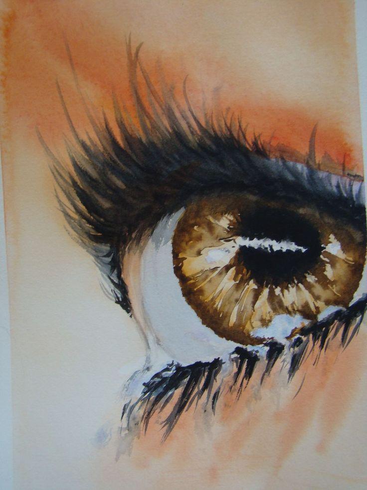 OEIL marron avec larmes. Aquarelle