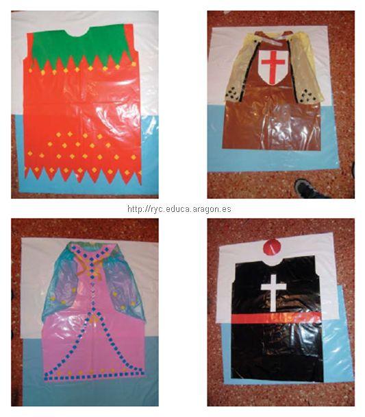 Disfraz medieval caballero, de clérigo, de dama, de juglar con bolsas de plástico.
