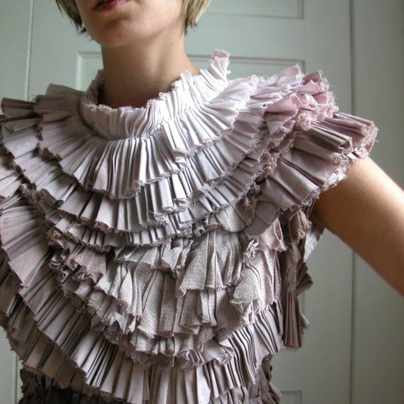 Pleated dress with ombre effect - textile textures - handmade fashion by Kate Towers