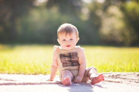 6 Month Baby SKYLAR Sitter Romper  Beige with by JazzCraftBoutique