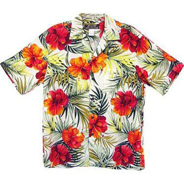 ハワイ ハワイアン メンズレーヨンアロハシャツ 【 ビッグハイビスカス 】 クリーム