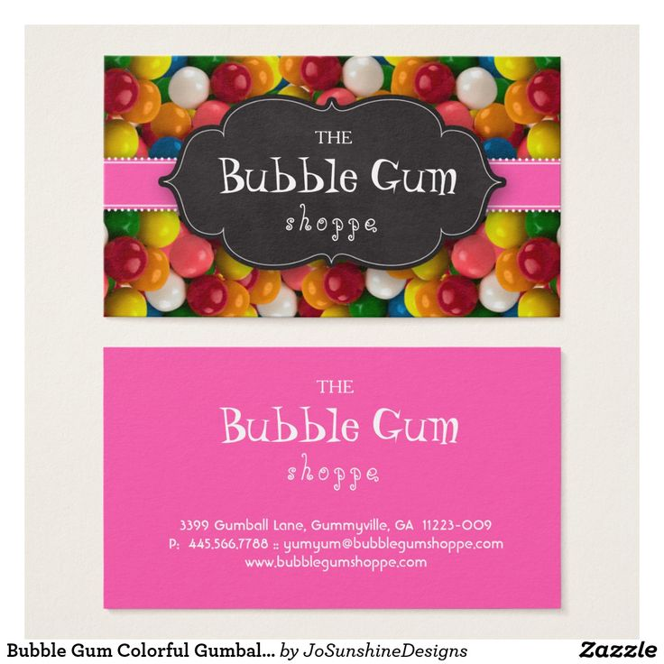Bubble Gum Colorful Gumball Pink Stripe Chalkboard Business Card