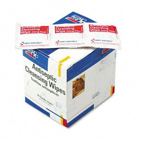 First Aid Only Products - First Aid Only - Antiseptic Cleansing Wipes, 50/Box - Sold As 1 Box - Antiseptic towelettes, with the active ingredient Benzalkonium Chloride. - Ideal for cleansing wounds when alcohol is inadvisable. - Single-use design eliminates the worry of cross contamination. by First Aid Only Products. $6.80. First Aid Only - Antiseptic Cleansing Wipes, 50/Box - Sold As 1 BoxThese antiseptic towelettes, with the active ingredient Benzalkonium Chloride, are ...