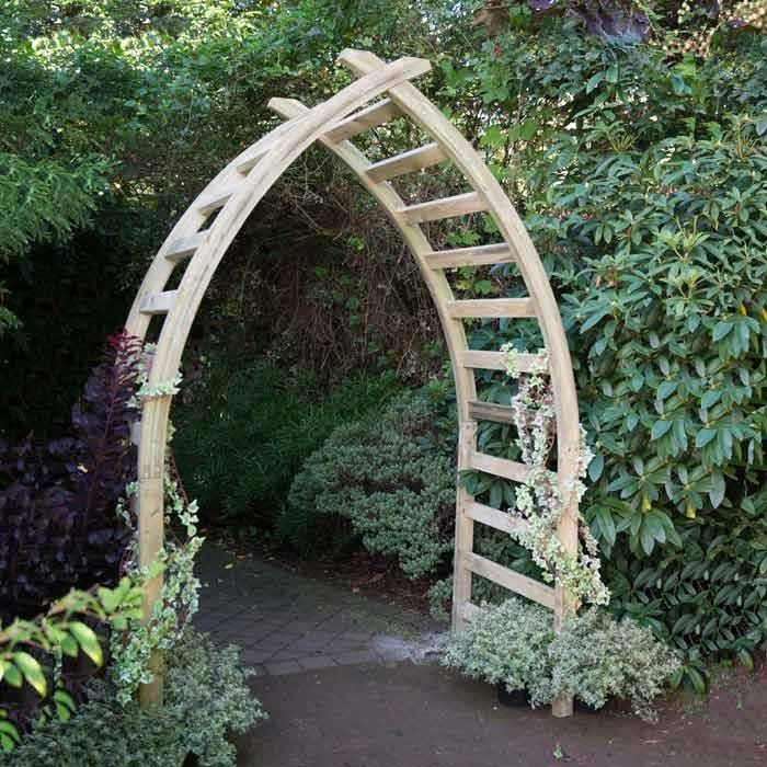 The Whitby 2 metre Garden Arch is a contemporary cross-over archway inspired by the iconic Whalebone Arch on Whitby's seafront.  Featuring thick trellis rails to encourage climbing plants and made from pressure treated timber, smooth planed for a high quality finish.