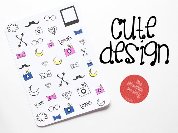 Cute Design Stickers Set di ThePlannerSociety su Etsy