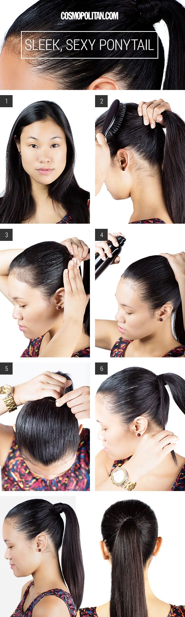 Sleek Ponytail Hair How To - Slicked Back Ponytail Look