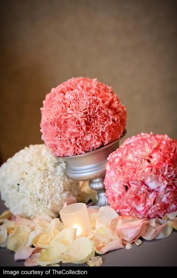 Carnation wedding balls (ceremony). Can't be too hard to make, and in the proper colors could be gorgeous.