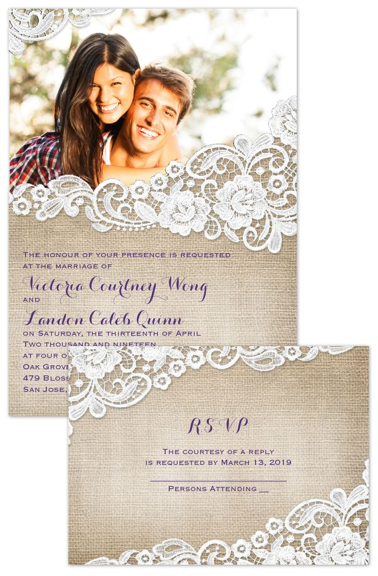 Photo + Burlap and Lace wedding invitations with a FREE rsvp postcard. The sweetest and most affordable invite for a country rustic wedding.