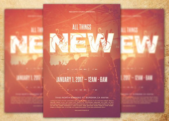 All Things New Church Flyer Template by loswl ✏ Graphic - christian flyer templates
