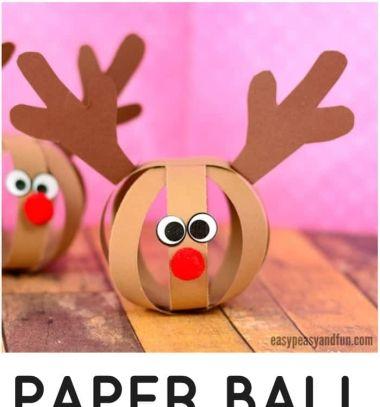 ❤ Papírcsík gömb rénszarvas Rudolf - karácsonyfadísz gyerekeknek ❤Mindy - kreatív ötletek és dekorációk minden napra