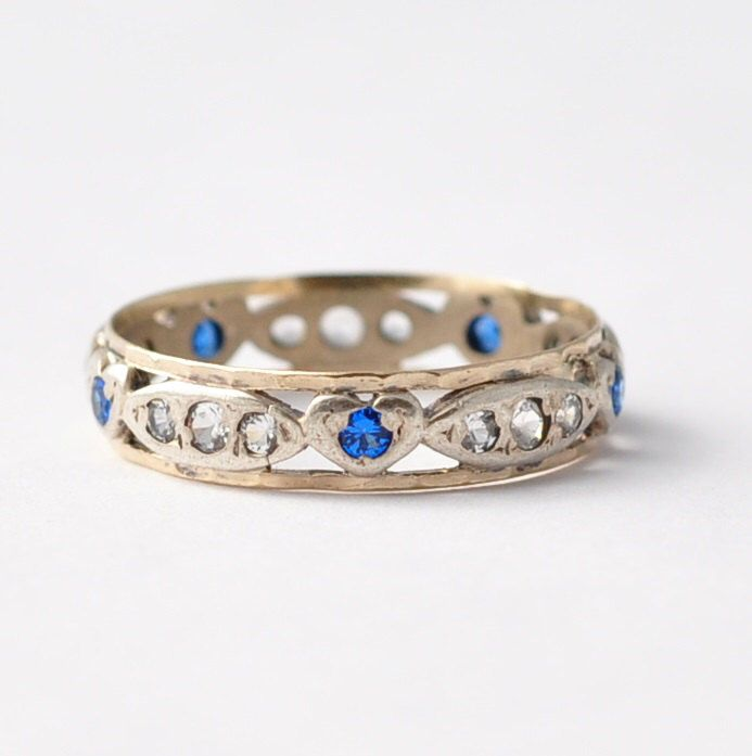 Vintage Promise Ring For Girlfriend: Heart Shaped Sapphires, Diamond Pastes, Silver & 9K Gold Promise Rings Unique Gifts Size 7.75 by BlueRidgeNotions on Etsy https://www.etsy.com/listing/222613708/vintage-promise-ring-for-girlfriend