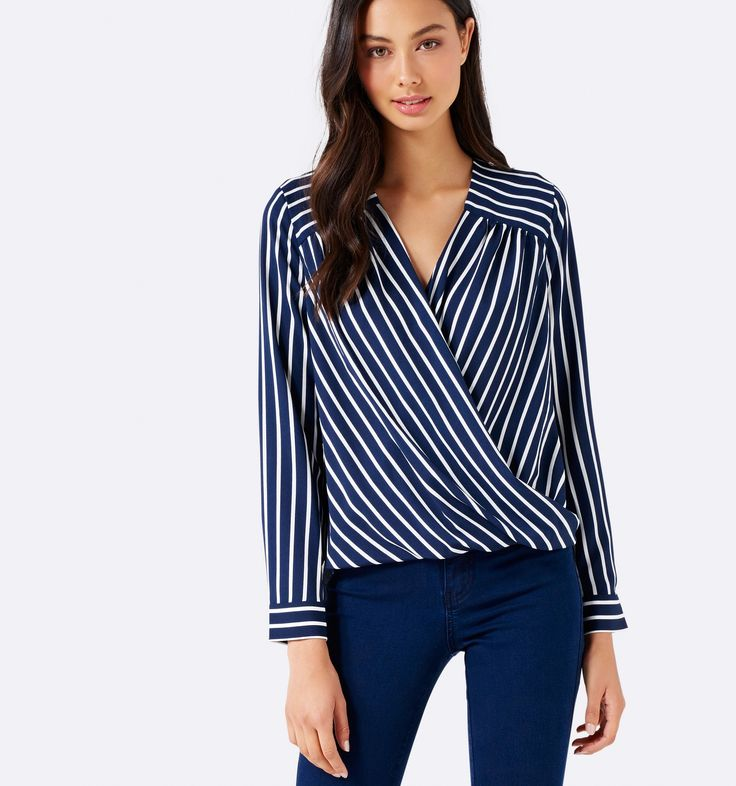 Forever New - Sylvia Stripe Wrap Front Blouse Wide Stripe